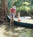 Naomi fishing in the Guadalupe River near New Braunfels, Texas.